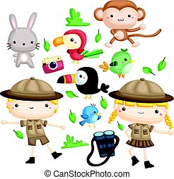 Zookeeper vector set - a zookeeper couple with their animals