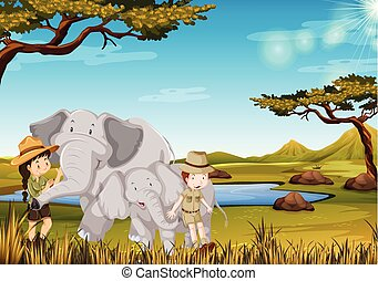 Zookeeper with elephant in the