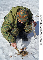 Zoologist in taiga 20 - The zoologist explores an amur...