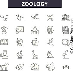 Zoology line icons for web and mobile design. Editable stroke signs. Zoology outline concept illustrations
