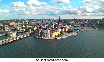 Zoom aerial panorama of Stockholm