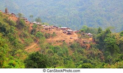 Zoom - Akha tribe village on mountain, Pongsali, Laos