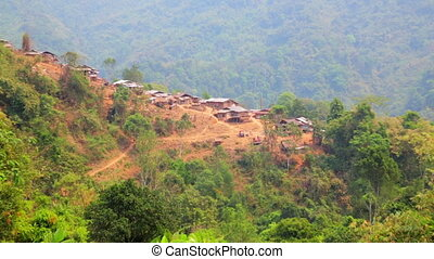 Zoom - Akha tribe village on mountain, Pongsali, Laos