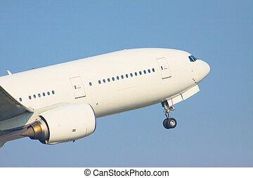 zoom, auf, front, veiw, von, passagierdüsenflugzeug, eben,...