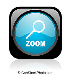 zoom black and blue square web glossy icon