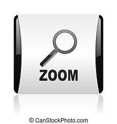 zoom black and white square web glossy icon