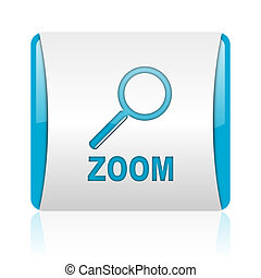 zoom blue and white square web glossy icon