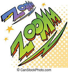 zoom, bullone, suono, testo