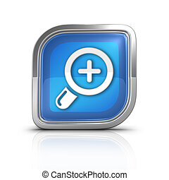 Zoom Button Blue Icon Sign