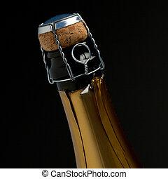 zoom, cima, bottiglia champagne