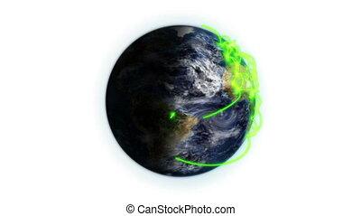 zoom, connexions, terre verte