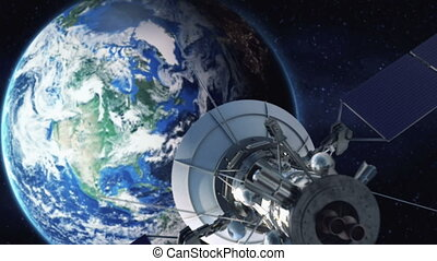 zoom, de, um, satélite