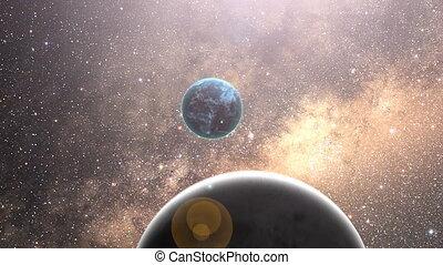 zoom, espaço, para, terra planeta