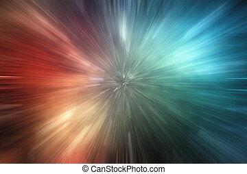 zoom, fond, lumières, vitesse