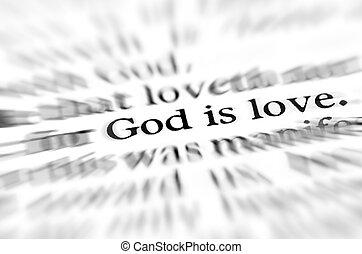 Zoom God is Love Scripture in Bible - Detail closeup zoom...