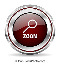 zoom icon chrome border round web button silver metallic pushbutton