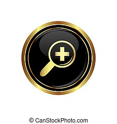 Zoom icon on black with gold button