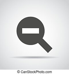 Zoom icon with shadow on a gray background. Vector illustration