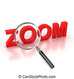 zoom icon - zoom 3d letters under the magnifier illustration