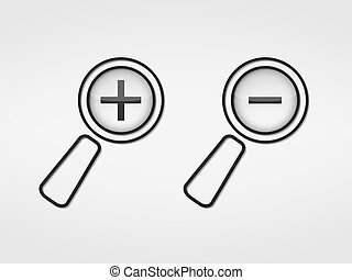 Zoom ions, magnifying glass with plus and minus signs, vector eps10 illustration