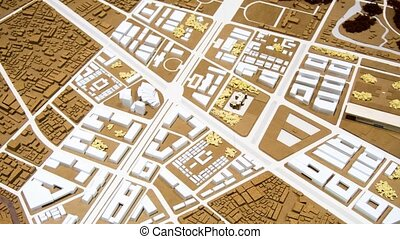 zoom in city map with 3D buildings