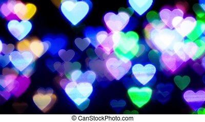 zoom in colorful heart bokeh background