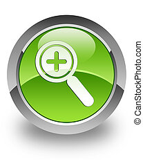 Zoom in glossy icon - Zoom in icon on glossy green round ...