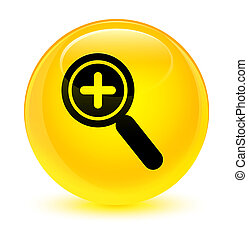 Zoom in icon glassy yellow round button