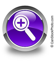 Zoom in icon glossy purple round button