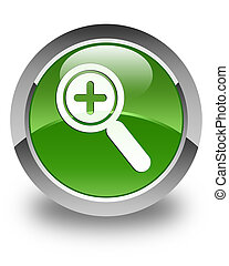 Zoom in icon glossy soft green round button