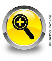 Zoom in icon glossy yellow round button