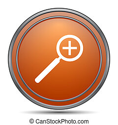 Zoom in icon. Orange internet button on white background.