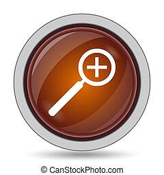 Zoom in icon, orange website button on white background.