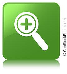 Zoom in icon soft green square button