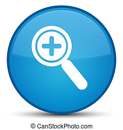 Zoom in icon special cyan blue round button