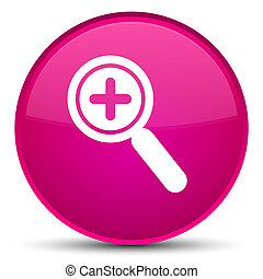 Zoom in icon special pink round button