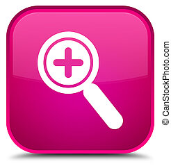 Zoom in icon special pink square button