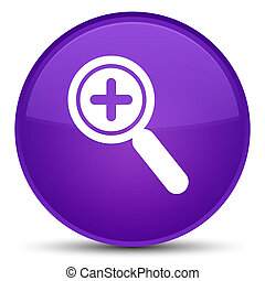 Zoom in icon special purple round button