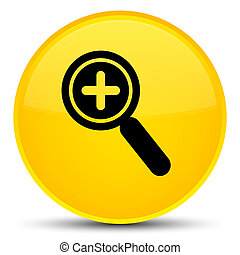 Zoom in icon special yellow round button