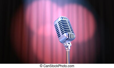 Zoom In Old Fashioned Microphone and Red Curtain with...