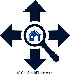 Zoom in or look for home in every direction vector icon. Search for home concept icon.