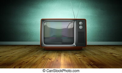 Zoom in brown retro TV with antenna and screen blur noise, against green wall indoor with wooden floor