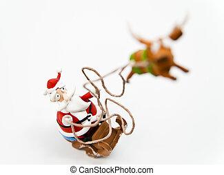 Zoom in Santa Claus - Zoom in Santa clause in sleigh