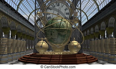 Zoom in to a time machine animated in Steam Punk style 4K -...