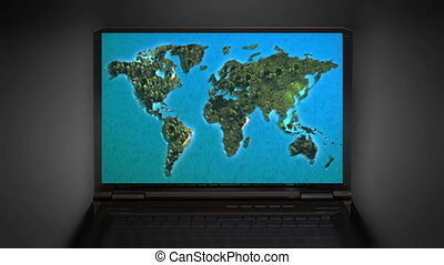 Zoom in to north america map the world map animation on the the world map animation on the laptop screen animation is representing the travel connection and business theme gumiabroncs Images