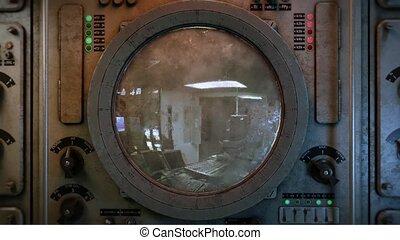zoom in to military radar screen. 3d rendering