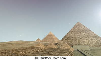 Zoom into a 3D animation of the Giza platform Egypt. A view...