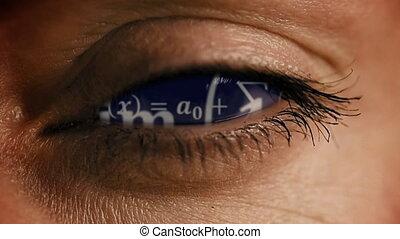 Zoom into eye iris to math equations mess and formulas...