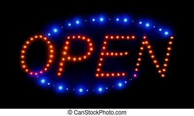 Zoom Into Neon Open Sign - Zoom into neon red and blue open...