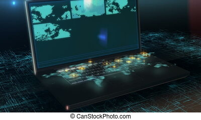 Zoom into virtual city in laptop with motion graphics 4k